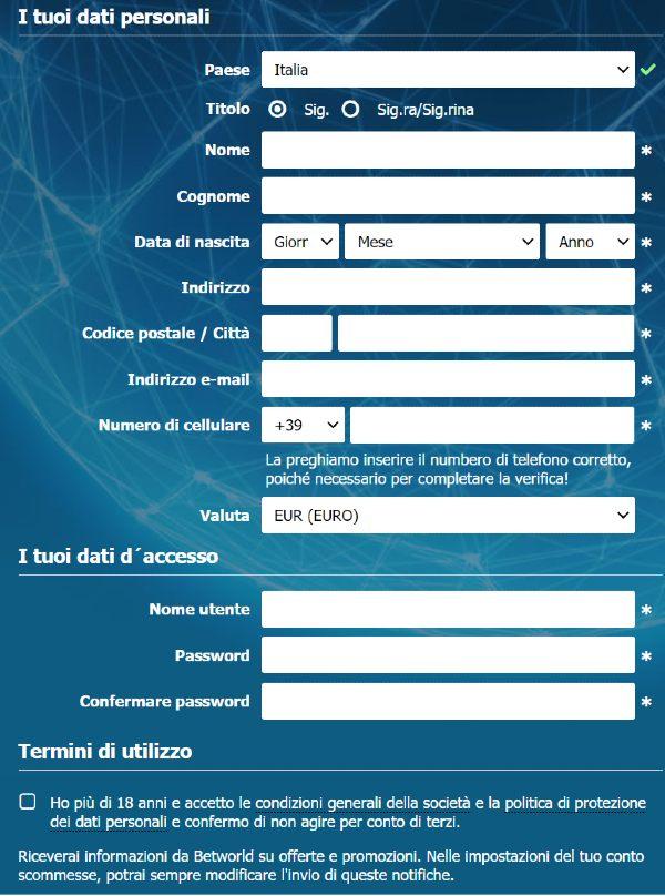 betworld registrazione