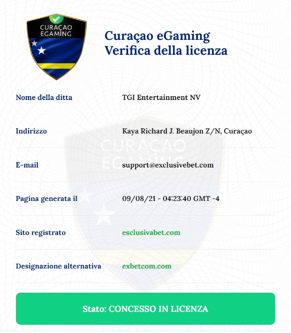exclusivebet license